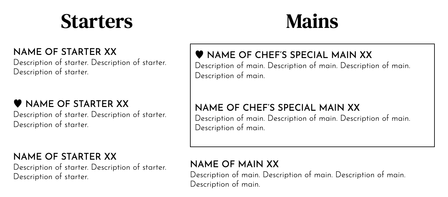 Free menu template from Pared