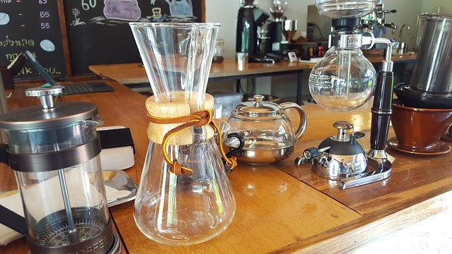 Barista job description: Chemex container, French press, and kettles