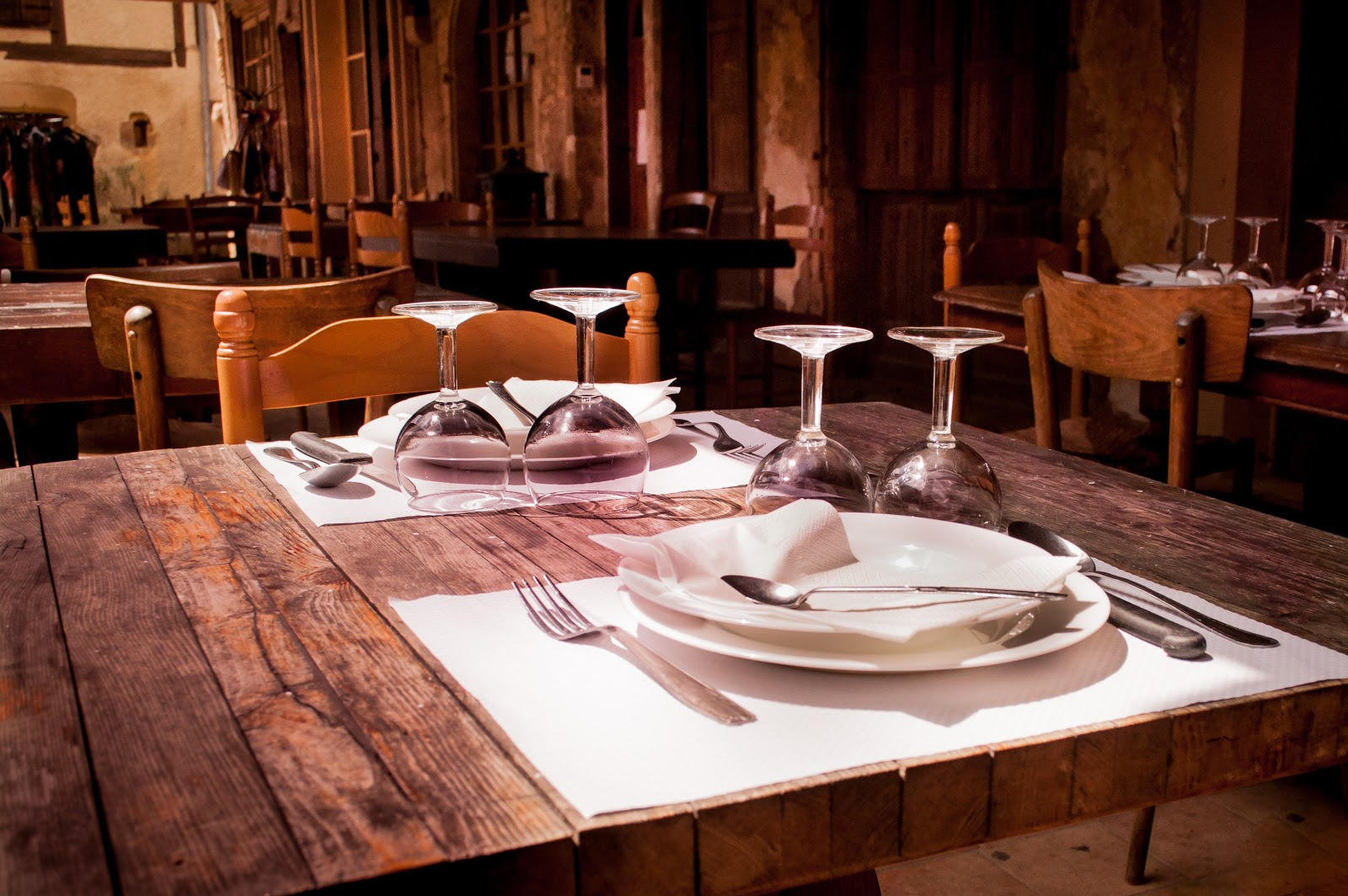 Table set for two in restaurant