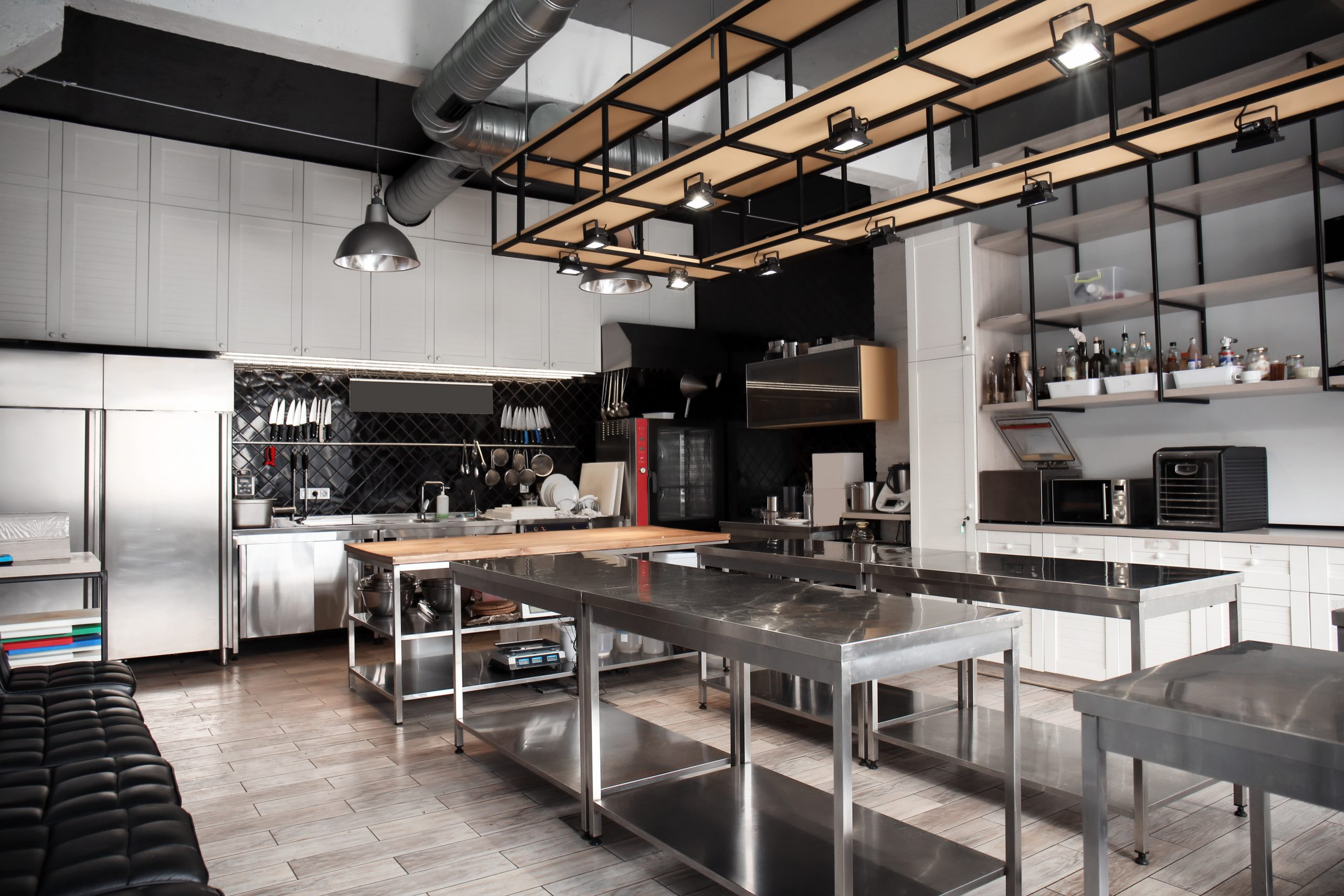Interior of professional restaurant kitchen layout