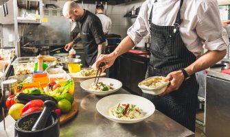 Health code violations: Restaurant workers prepare dishes